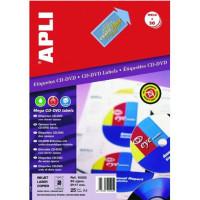 Etykiety na płyty APLI AP2001 CD/DVD matowe usuwalne 25ark.
