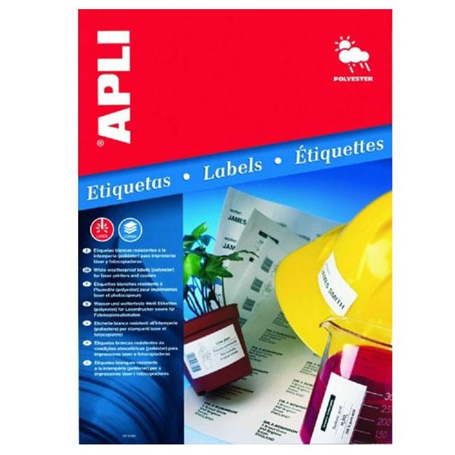 Etykiety poliestrowe wodoodporne APLI AP1227 105x148mm białe 20ark.