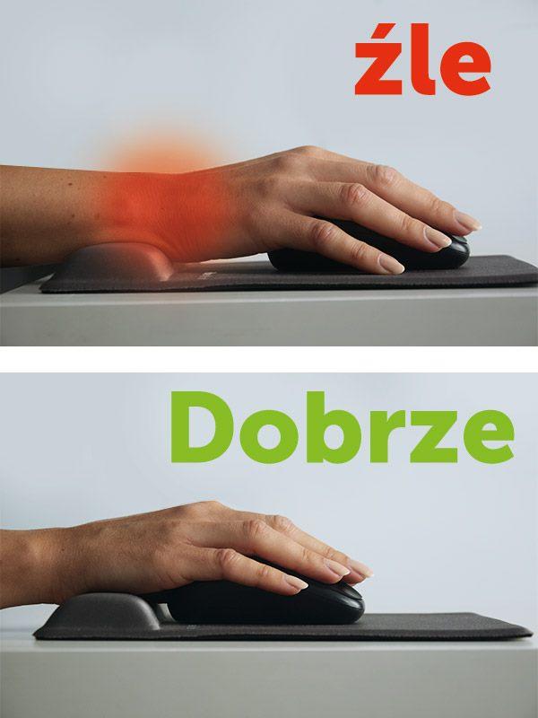 jak prawidłowo ułożyć dłoń na podkładce pod myszkę
