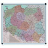 Mapa Polski VITTORIA 1641 suchościeralno-magnetyczna 90x100cm w ramie aluminiowej
