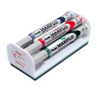 Marker suchościeralny PENTEL Maxiflo MWL5M-4N 6mm 4szt. z gąbką