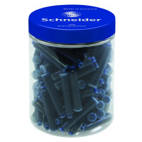 Naboje do piór SCHNEIDER, plastikowy słoik, 100 szt., niebieski