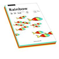 Papier RAINBOW A4 80g intensywny mix kolorów do drukarki i ksero - ryza 100 ark.