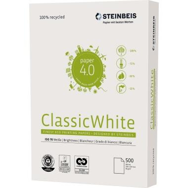 Papier STEINBEIS Classic White A4 80g recyklingowy do drukarki i ksero - ryza 500 ark.