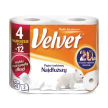 Papier toaletowy celulozowy VELVET najdłuższy 4szt