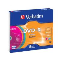 Płyta DVD-R VERBATIM 4,7GB/120min slim kolor 5szt.