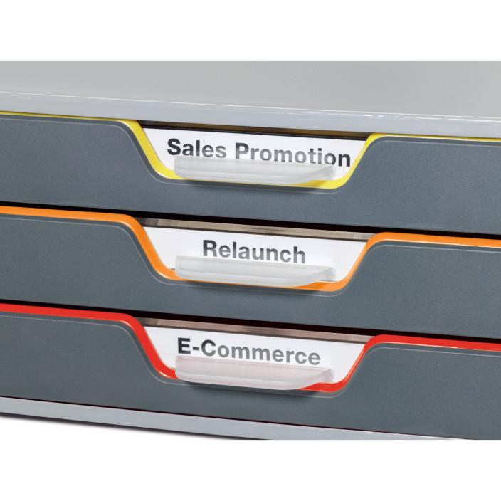 Pojemnik DURABLE VARICOLOR SAFE z trzema kolorowymi szufladkami (żółta, pomarańczowa, czerwona)