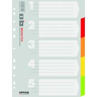 Przekładki kartonowe OFFICE PRODUCTS A4 kolorowe 5 kart