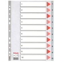 Przekładki plastikowe numeryczne ESSELTE A4 PP 1-10 szare