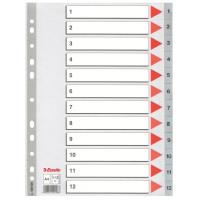Przekładki plastikowe numeryczne ESSELTE PP A4 1-12 szare