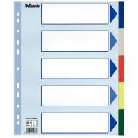 Przekładki polipropylenowe ESSELTE A4 PP Maxi z kolorowymi indeksami 5 kart