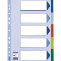 Przekładki polipropylenowe ESSELTE A4 PP z kolorowymi indeksami 5 kart