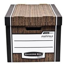 Pudła archiwizacyjne Fellowes Bankers Box WOODGRAIN - FastFold, brązowe, opakowanie 10 szt.