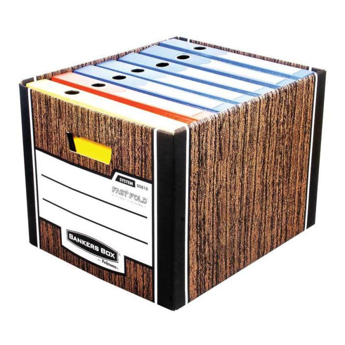 Pudła archiwizacyjne Fellowes Bankers Box WOODGRAIN - FastFold, brązowe, opakowanie 2 szt.