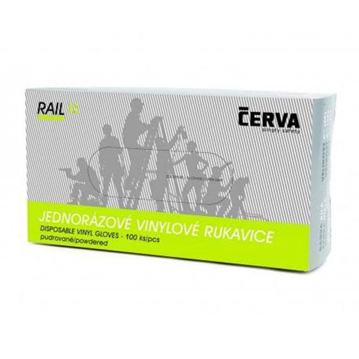 Rękawice winylowe pudrowane CERVA Rail rozmiar 8 transparentne 100szt.