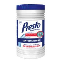 Ściereczki dezynfekujące PRESTO 2w1 w tubie 150szt. białe