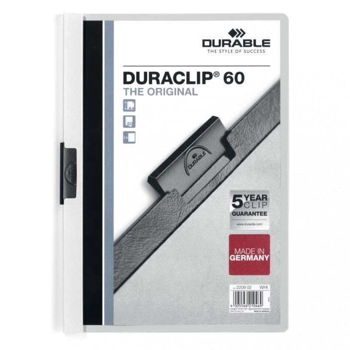Skoroszyt zaciskowy DURABLE DURACLIP 1-60 biały 25szt.