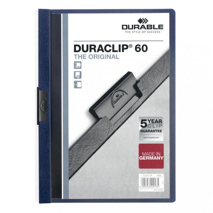 Skoroszyt zaciskowy DURABLE DURACLIP 1-60 ciemno granatowy 25szt