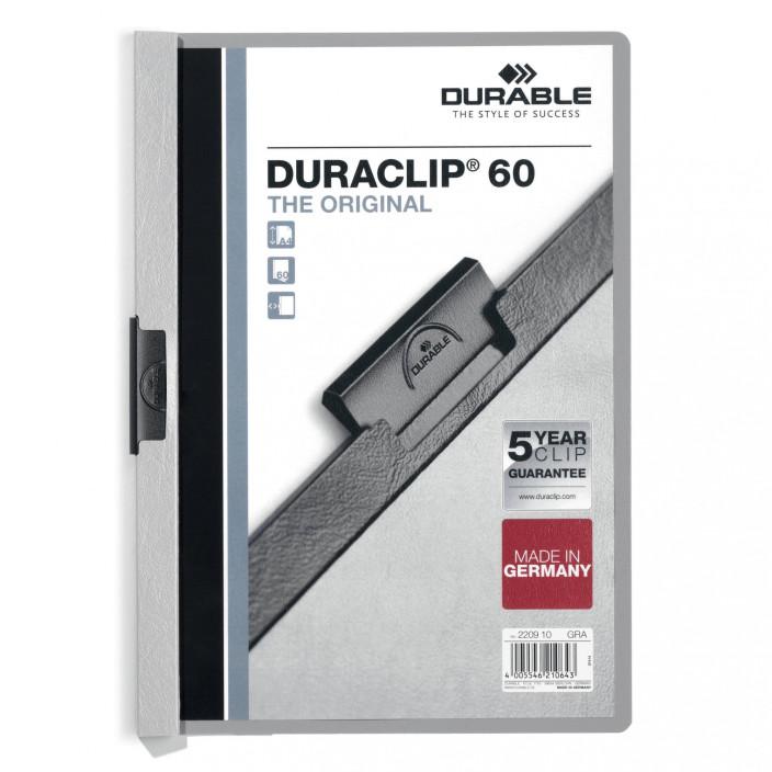 Skoroszyt zaciskowy DURABLE DURACLIP 1-60 szary 25szt