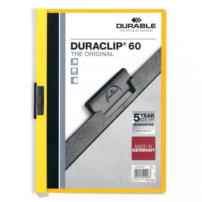 Skoroszyt zaciskowy DURABLE DURACLIP 1-60 żółty 25szt.