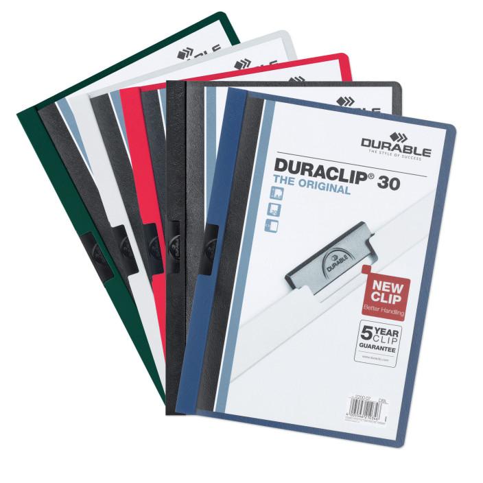 Skoroszyt zaciskowy DURABLE DURACLIP A4 1-30k biały 5szt.