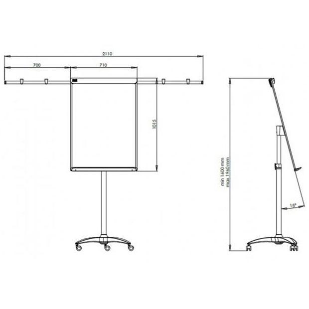 Tablica flipchart 2x3 Mobilechart Pro Red z wyciąganymi ramionami na kółkach