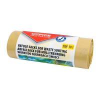 Worki na śmieci OFFICE PRODUCTS, do segregacji plastiku, mocne (LDPE), 120l, 10szt., żółte