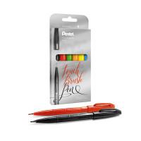 Zestaw pisaków do kaligrafii PENTEL Brush Sign Pen z elastyczną końcówką 6 szt.