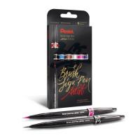 Zestaw pisaków PENTEL SESF30C-ST6ACENPVPL Brush Sign Pen Artist 6 szt.